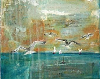 Original Mixed Media Painting Seascape Acrylics- First Flight