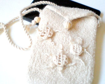 eReader Case Carrier for the Kindle Fire, Nook, Kobo, i-Pad Mini - Felted Wool - Made to Order - Winter White