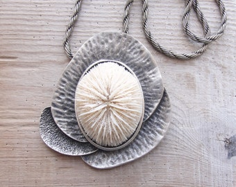 Mushroom Coral Necklace White Sea Treasure Necklace