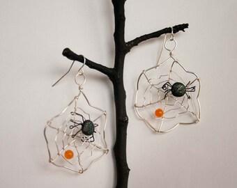 Silver Spider Web Earrings, Wire Wrapped, Orange Jade, Halloween Earrings