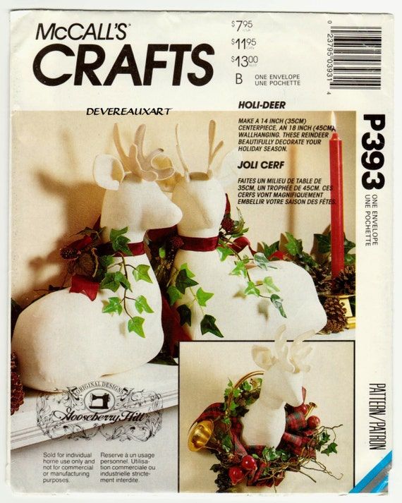 "1992 - McCalls ""Craft"" Pattern P393 (6159) - UNCUT - Deer / Stag"