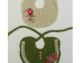 BIB ONLY Crochet Bib Pattern Shabby Chic Baby Crochet Pattern Photo Prop Crochet Pattern Fall Fashion No. 62