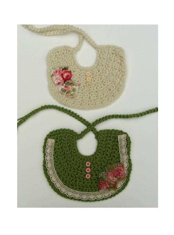 Bib Only Crochet Bib Pattern Shabby Chic Baby Crochet Pattern Etsy