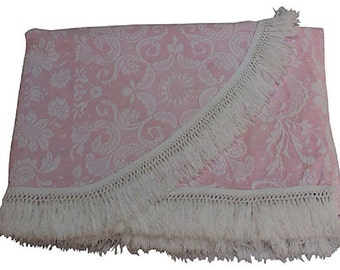 Pink Matelassé Bedspread w/ Fringe - Bates Queen Elizabeth in Pink and White - Twin Spread - Full Coverlet