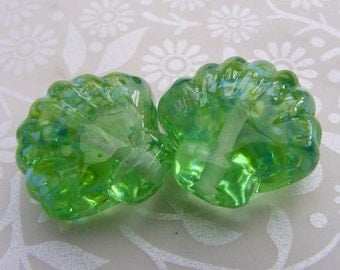 Lampwork Glass Beads Sea Green Shell