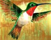 PRINT - Ruby-Throated Hummingbird, 8 x 10, bird, yellow, gold, garden, wall decor, holiday, Christmas, hostess gift