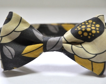 Boys Bow Tie Dark Grey and Yellow Floral