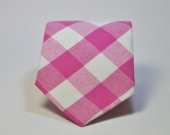 Hot Pink and White Check Men's Necktie