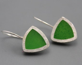 Stylish Green Triangle Sterling SIlver Earrings