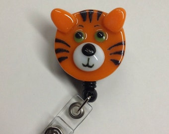 Retractable Badge Holder Fused Glass Tiger