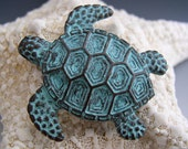 43mm Large Sea Turtle Pendant Mykonos Greek Copper Antiqued Green Turquoise
