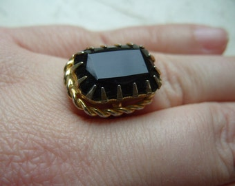 FREE SHIPPING Vintage Black Glass Ring  - Adjustable Band