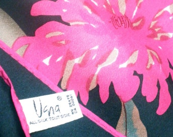 Midnight Chrysanthemum - a vintage 1980's hand-painted Vera Neumann pure silk scarf -  tout soie - 31 inches - MINT