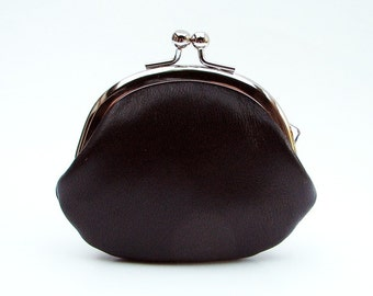 Black Leather Clasp Change Purse Coin Purse Lambskin