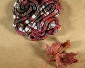 Swirls of Russet Fiber Brooch Fiber Art
