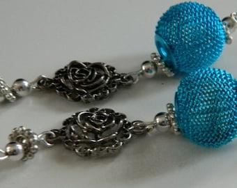 Blue flower mesh earrings - Original, handmade