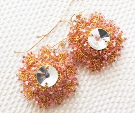 Bridal Crystal Earrings, Wedding Floral Earrings, Bridal Rhinestone Earrings, Vintage Style Bridal Earrings, Gold Pink