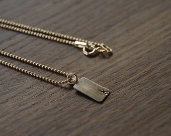 Gold Initial Tag Necklace on ball chain