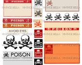 Vintage Halloween Poison Skull and Crossbones Labels - Digital Download 299 - by Vintage Bella