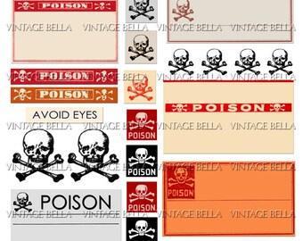 Vintage Halloween Poison Skull and Crossbones Labels - Digital Download 299 - by Vintage Bella