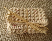 Traditional Natural White Speckled Cotton Washcloth Or Dishcloth