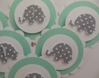 Elephant Cupcake Toppers - Mint Green with Gray Polka Dot Elephants - Gender Neutral - Baby Shower Decorations - Birthday Parties - Set of 6