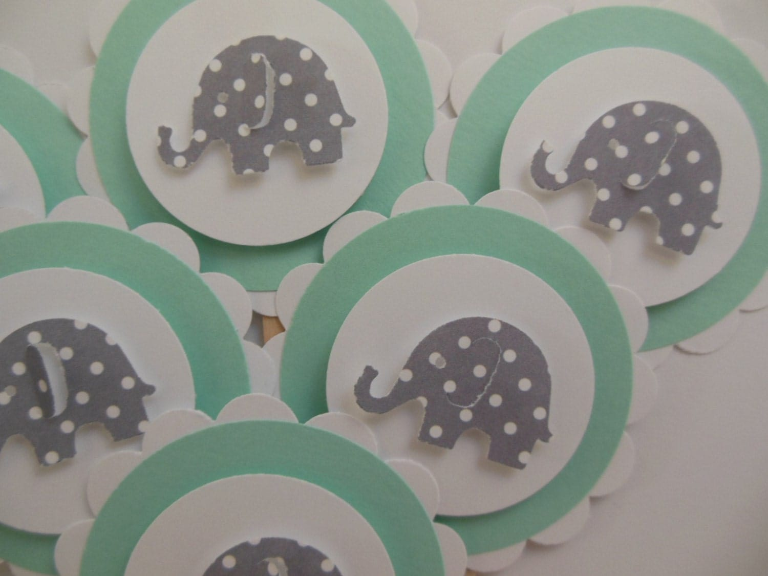 Elephant cupcake toppers mint green with gray polka dot - Baby deko mint ...