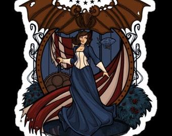 Individual Die Cut Elizabeth Nouveau sticker (Item 01-012)