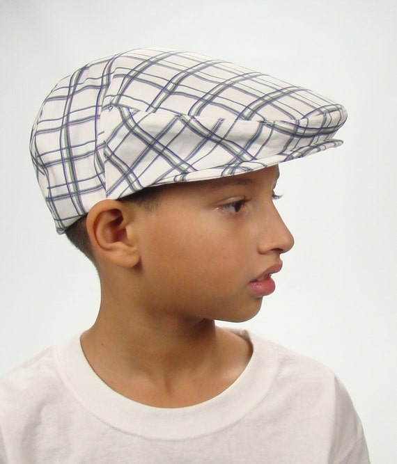 Children's Blue Green and White Plaid Linen-Cotton Jeff Cap for Boys, Baby, and Toddler Newsboy Ivy