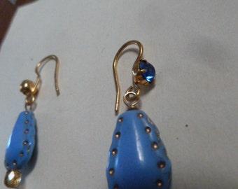 Blue Denim Indigo Earrings