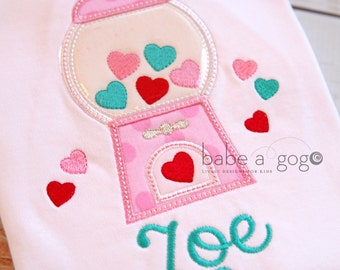 Valentine's Day Gumball Machine Tee Shirt by babe-a-gogo for Toddlers, Girls
