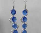 Earrings, Sapphire Blue Swarovski Faceted Crystals, Swarovski Crystal Pearls, Sterling Silver Ear Wires, Hand-Made NT-1326
