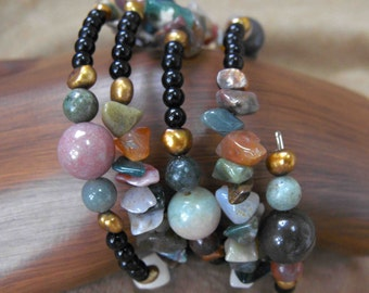Agate Bracelet, Indian Agate Nuggets and Beads, Coiled, Hand-Made