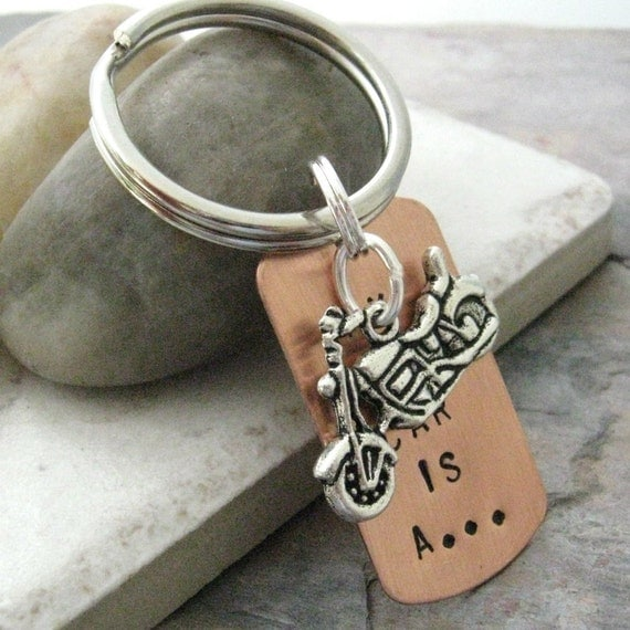My Other Car is a Motorcycle Keychain, biker gift, motorcycle gift, optional personalized initial disc, see all pics for sizing