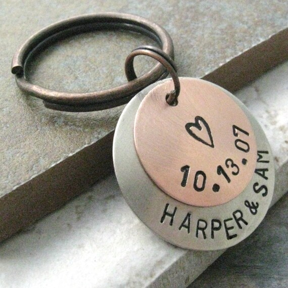 Personalized 2 Layer Keychain, mini style, 5 Metal Options, option 1 shown, personalized keyring, customized keychain, gifts under 20