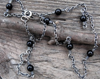 Black onyx sterling silver layering necklace