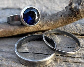 Sapphire sterling silver stacking rings