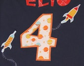 Personalized Rocket Shirt, Birthday Shirt, Space Party, Back to School Shirt, Camp Party, Rocket Ship Party, Planet Party, Outerspace Party