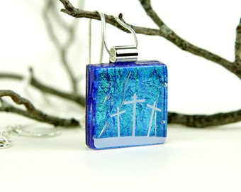 Cross Pendant - Dichroic Cross Necklace - Dichroic Jewelry - Fused Glass Christian Pendant