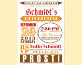 Custom Modern Vintage Retro OKTOBERFEST Party Invitation Invite Digital Design - Old Fashioned/Dots/Circle - Beer/Pretzel - Printable