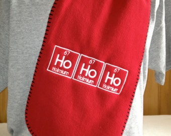 Ho Ho Ho Scarf Periodic Table Science Chemistry Geek Winter - Red with White Letters