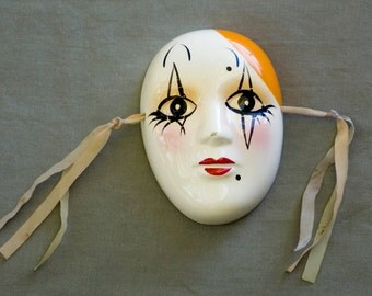 Vintage Porcelain Wall Mime Mask