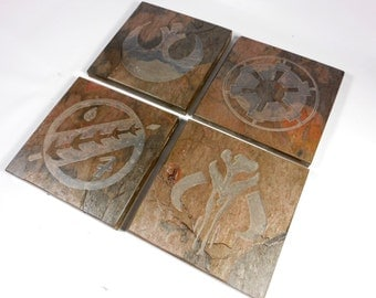 Slate Stone Coasters: Sci Fi Fanatic - Imperial Rebel Mandalorian Jaster Feather - Handmade Carved Coaster Set of 4 - Natural Drink Coasters