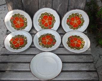 Vintage Midwinter Stonehenge Nasturtium Bread/Salad Plates (7)