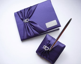 Purple Wedding Guest Book, Personalized Guest Book and Pen Set with Linked Hearts and Engraving
