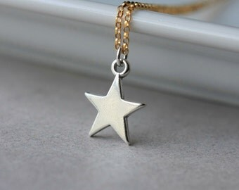 Sterling Silver Star Necklace, Star Pendant Necklace, Mixed Metal, Minimal Jewelry, Celestial Jewelry, Layering Necklace, Jewelry Gift
