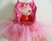 PEPPA PIG Leotard TUTU - Peppa Tutu -Peppa Birthday - Peppa Dress -  Peppa Pig Dress -  Personalized - Peppa Party