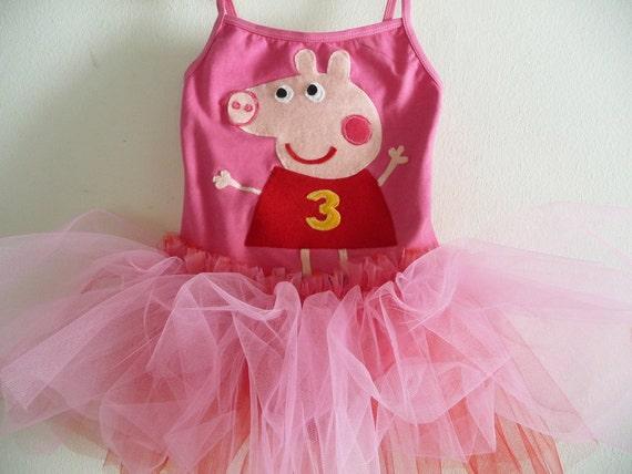 PEPPA PIG DRESS - Peppa Tutu -Peppa Birthday - Peppa Pig Leotard - Peppa Dress -  Peppa Pig Dress -  Personalized - Peppa Party