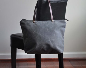 MEDIUM Grey and Black Waxed Canvas Zippered Tote Bag Purse with Leather Handles