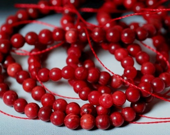 Red coral round aprox 3mm, 15-inch strand (item ID FB4196CL)